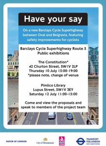 TfL CS5 Consultation exhibition poster, Pimlico, London