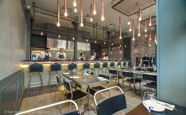 Main dining area, 64 Degrees restaurant, Pimlico, London